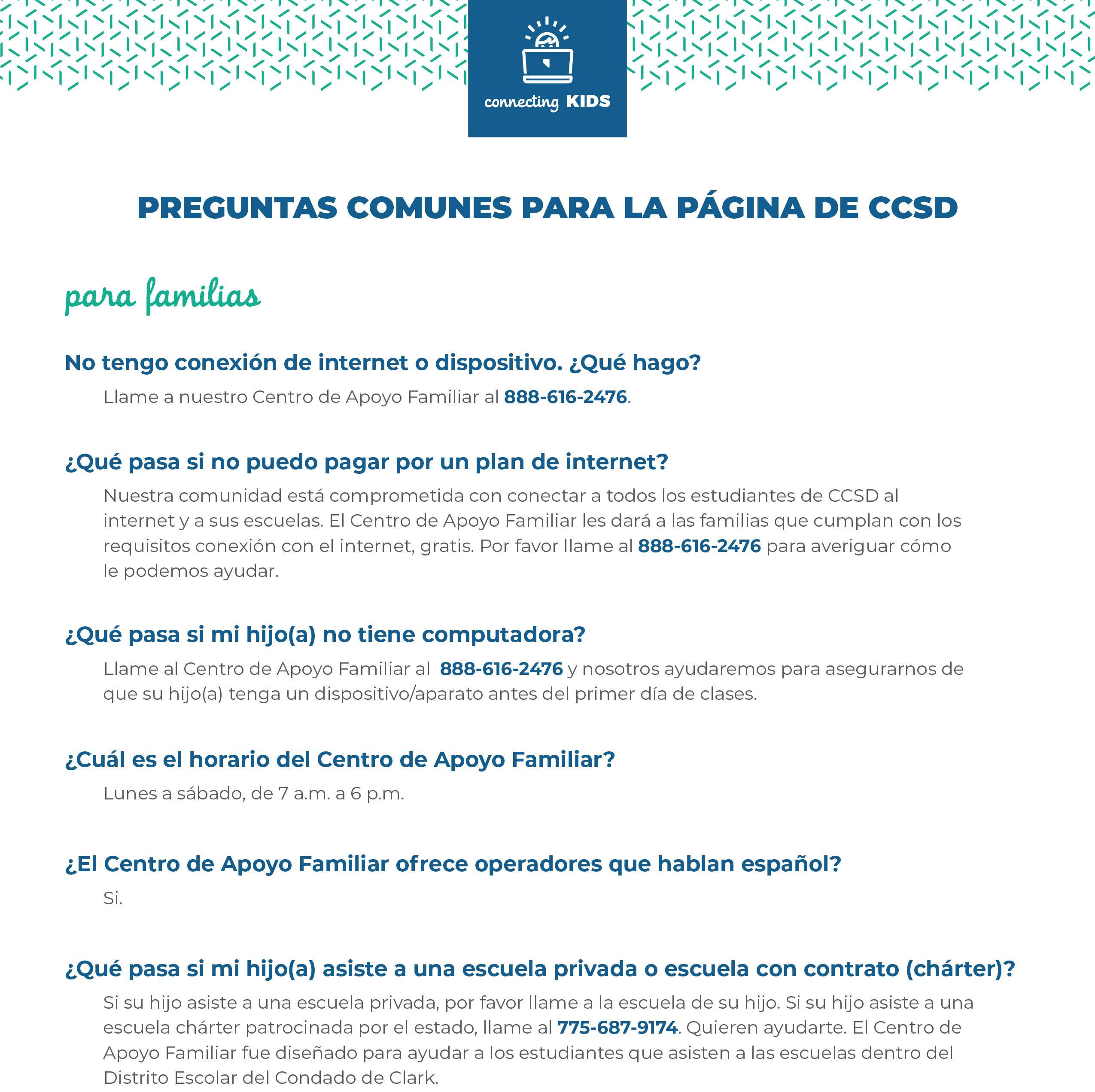 connecting kids faq espanol 1