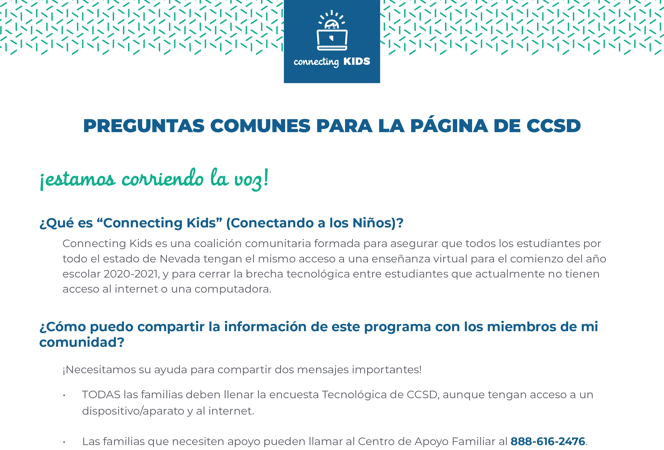 connecting kids faq espanol 2